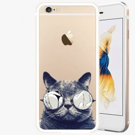 Kryt na mobil iSaprio Alu Gold pro iPhone 6 Plus / 6S Plus - Crazy Cat 01